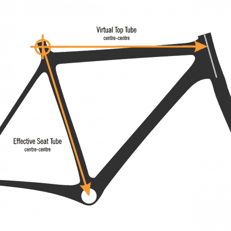 compact bicycle frame measurement illustration